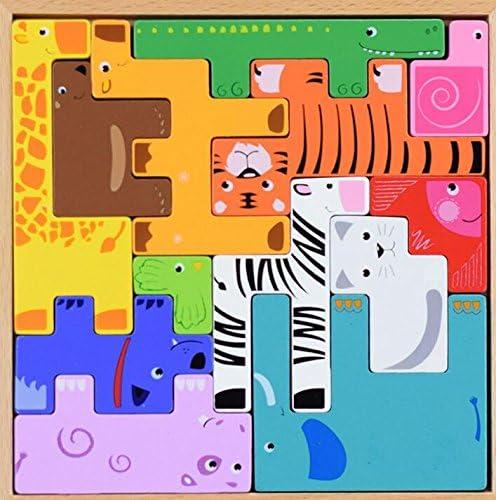 Puzzle jouet éducatif Creative 3D en bois éducatif Puzzle Box Early apprentissage formes couleur Animal Toy Fantastic cadeaux pour les enfants (Blocs)   Facile à Nettoyer Surface