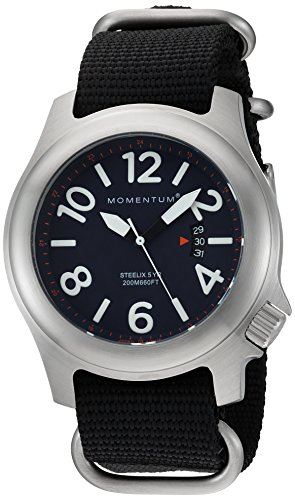 Momentum Men's 'Steelix' Quartz Stainless Steel and Nylon Casual Watch, Color:Black (Model: 1M-SP74U7B)