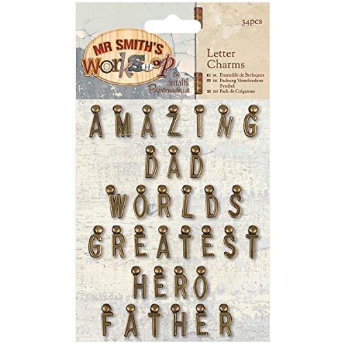 Docrafts Papermania Mr. Smith's Workshop Letter Charms 34/pkg- -