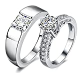 #2: Via Mazzini White Gold Plated Crystal Proposal Couple Rings For Boys And Girls (Ring0363)