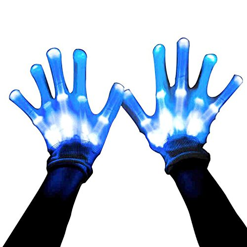 LED Skeleton Handschuhe, 12 Color Changeable Light Up zeigt Halloween Kostüm, Neuheit Weihnachtsgeschenk (Light Up Rave Handschuhe)