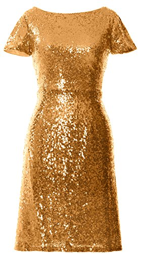 MACloth Gorgeous Cap Sleeve SequinCocktail Dress Boat Neck Short Bridesmad Dress Gold