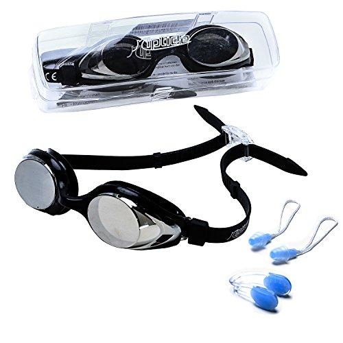 riptide Schwimmbrille - Taucherbrille in schwarz I mit Ohrenstöpsel und Nasenklammer I verspiegelt Lila Junior Set