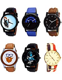 NIKOLA Brand New Unique Mahadev Beard Style Black Blue And Brown Color 6 Watch Combo (B22-B47-B36-B55-B23-B50)...