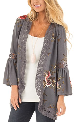 Ecowish Womens Floral Print Loose Puff Sleeve Kimono Cardigan Lace Patchwork Cover up Blouse