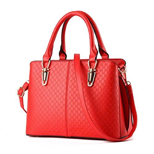 Syknb Nuovo Arrivo Moda Donna Borse Borse A Tracolla In Pelle Pu Nero Solido Top-Maniglia Femmina Borse Messenger Bag,Nero Red