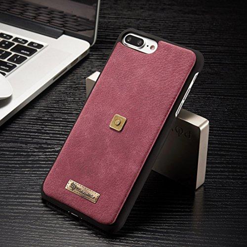 Mobiltelefonhülle - CaseMe für iPhone 7 Plus Multifunktionale Ledertasche mit abnehmbarem Magnetic PC Rückenschutz Case & 4 Card Slots & 2 Cash Slots & 1 Zipper Wallet & 1 Foto Frames & 1 Haken ( Farb Rot