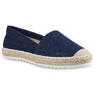 Damen Schuhe Lack Espadrilles Glitzer Slipper Flats Profilsohle 156210 Blau Glitzer 39 Flandell czk2Vpz9