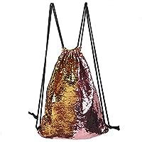 Shuzhen,Mochila de Deportes con cordón Escalada Senderismo Compras Mochila de Moda(Color:Dorado)