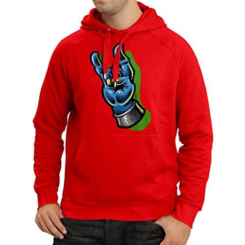 Kapuzenpullover Zombie Hand EIN Rock and Roll Symbol, Zeichen der Hörner Schwermetall Zeichen (X-Large Rot Mehrfarben)