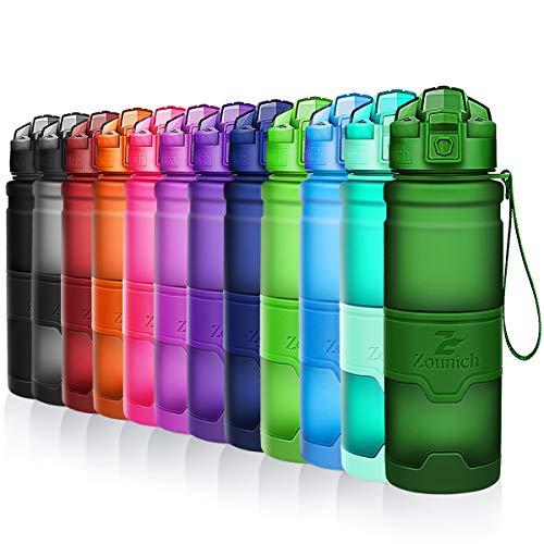 ZOUNICH Trinkflasche Sport BPA frei Auslaufsicher Wasserflasche 1L/700ml/500ml/380ml Kunststoff Sportflaschen für Kinder Schule,Joggen,Fahrrad,öffnen mit Einer Hand Trinkflaschen 1 Liter kohlensäure