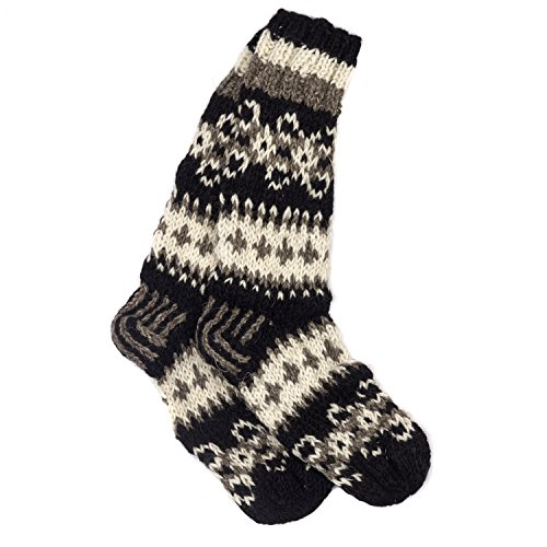 Funky Hand Knitted Winter Woollen Makalu Socks - Black & White