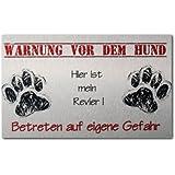 Kreative Feder HB186 Warn-/ Hundeschild aus gebürstetem Aluminium Verbund