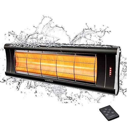 veito Aero S Elektro-Infrarot-Heizstrahler | Karbon | Terrassenstrahler | Wärmestrahler | 2500 Watt | elektrisch | 4 Leistungsstufen mit Fernbedienung | IP44 | Ultra Flach und leicht