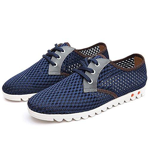 SONGYUNYANHerren outdoor-Freizeit Englisch mesh atmungsaktiv Sneaker Bootsschuh Feuchtigkeitstransport Blue