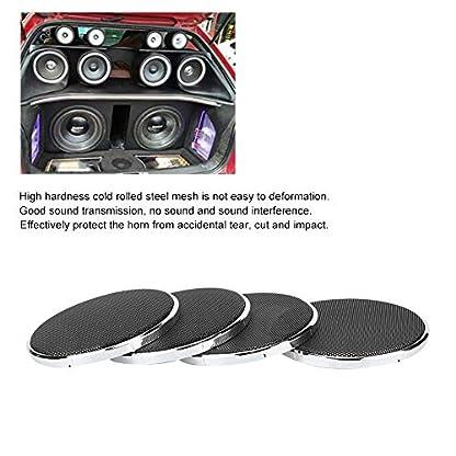 Auto-Lautsprecher-Net-Cover-3-Auto-Lautsprecher-Grill-Net-Frame-staubdichte-Abdeckung-Mesh-Trim-Decor-Galvanik-4pcs