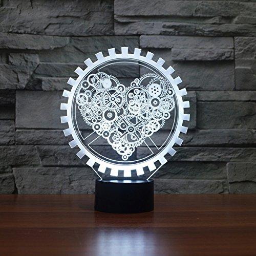 LED Nachtlicht,KINGCOO Magical 3D Visualisierung Amazing Optische Täuschung Touch Control Light 7 Farben ändern Schreibtischlampen für Kinderzimmer Home Decoration Best Geschenk (Liebe Gang) - 2