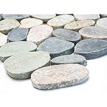 carrelage pour carrelage mosaque salle de bain sol cuisine pierre naturelle galets plat 6 mm neuf - Carrelage Galet Salle De Bain