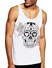 VIENTO Mexican Skull Camiseta de Tirantes para Hombre