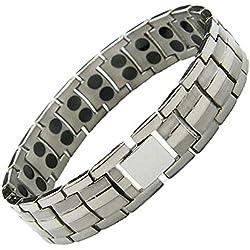 StarGems® Armband aus reinem Titan, magnetisch, doppelter Stärke, Starke 3.000 Gauss, Magnete, Arthritis, Heilung, Schmerzlinderung, Therapie, Gelenk, Muskelschmerzen