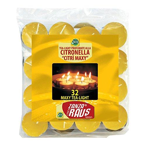Mondo Verde LUZ03 Pack de 32 Velas citronela antimosquitos de 5 x 1.5 cm, Amarillo, 5x5x1.5 cm