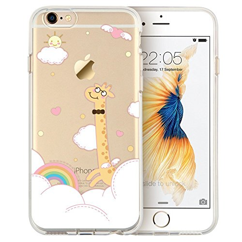 Blitz® Mania Series Transparent Weiche Silikon Schutzhülle TPU Bumper Case iPhone Ballon Mädchen iPhone 7 Giraffe