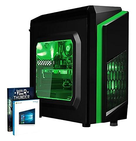 VIBOX FX 8 Gaming PC - 4,1GHz AMD FX 6-Core CPU, RX 470 GPU, VR Ready, Hochleistung, leistungsstärker, Spec, Desktop Gamer Computer mit Spielgutschein, Windows 10, Grün Innenbeleuchtung, lebenslange Garantie* (3,5GHz (4,1GHz Turbo) Superschneller AMD FX 6300 Sechs 6-Core Prozessor CPU, AMD Radeon RX 470 4GB Grafikkarte, 8GB DDR3 1600MHz RAM, 1TB (1000GB) SATA III HDD 7200rpm Festplatte, 85+ Netzteil, CIT F3 Grün Gaming Geh§use, AM3+ Mainboard, Externes DVD-RW, 150Mbs WLAN-Adapter)