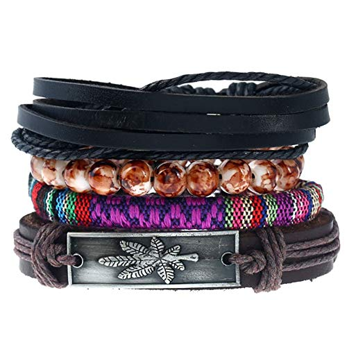 Wisilan Herren Lederarmband Vintage Punk mehrlagig Hanf Kordeln Holz Perlen gewebt Handband Armband Set verstellbar