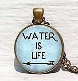 Wasser ist Leben Aktivismus Anhänger Halskette, Aktivismus Jewelry