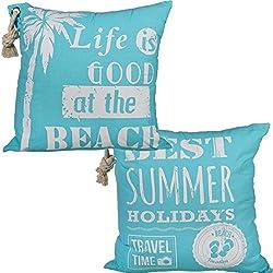 Bada Bing 2er Set Kissen Beach Summer Ca. 40 x 40 cm mit Kordel Türkis Blau Weiß