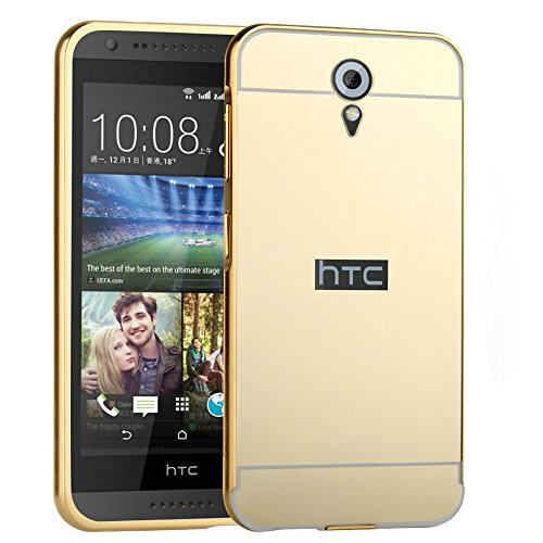 D-kandy Luxury Metal Bumper + Acrylic Mirror Back Cover Case For HTC DESIRE 620 620G - GOLD
