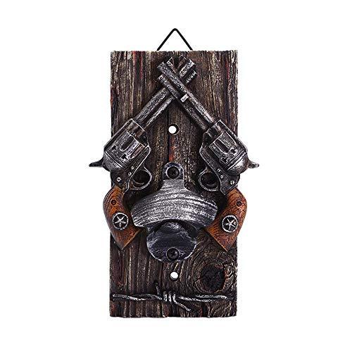 YUSDP Wand-Flaschenöffner, Double Gun Shape-Western Cowboy-Stil rustikale Vintage Durable Resin Plaque, Klassische Schmiedeeisen, Bar dekorative Accessoires