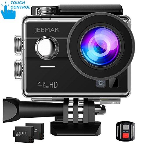 JEEMAK Action Cam Touchscreen Action Kamera 4K WIFI Ultra HD 170 ° Weitwinkel Kamera Unterwasser Kamera Helmkamera mit Fernbedienung 2 Batterien und Kit Accessoires