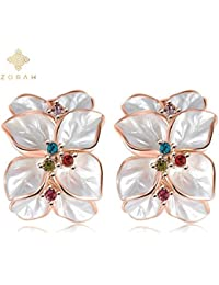 Zorah Rose Gold Plated Enamel Flower Shaped Stud Earrings For Women With Austrian Crystals SWA Elements - Rose...