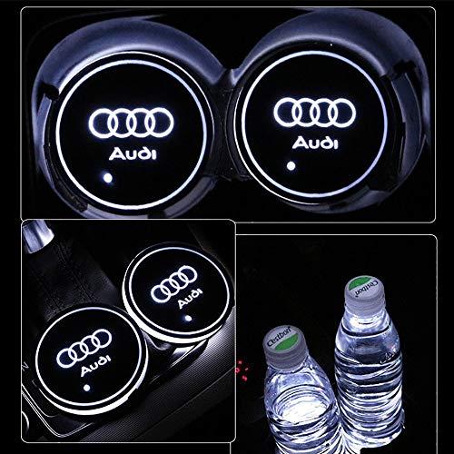 PRXD 2pcs LED Auto Cup Halter Matte Pad Wasserdicht Flasche Getränke Untersetzer für Universal Auto zur Autodekoration Stimmungslicht Innenraumbeleuchtung wasserdicht (Audi)