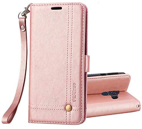 Ferilinso Hülle Kompatibel mit Xiaomi Pocophone F1, Elegantes Retro Leder mit Identifikation Kreditkarte Schlitz Halter Schlag Abdeckungs Standplatz magnetischer Verschluss Kasten (Roségold)