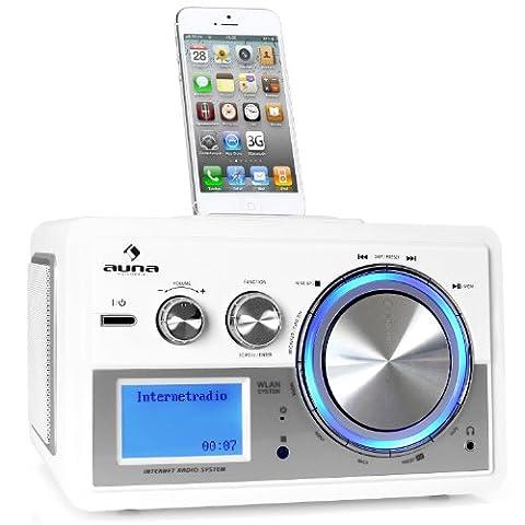Auna MG-83i Musio Internetradio Wlan Radio Netzwerkplayer (iPod Dock, Wlan-Radiowecker, 12500+ Radiostationen) weiß