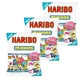 Haribo Minions Fruchtgummi 3er Set 450g - Die neuen Sorten 2017 sind da - Jetzt mit Einhorn in Geschmacksrichtung Zuckerwatte