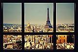 Paris - Window - Fenster Poster Plakat Druck - Größe 91,5x61 cm
