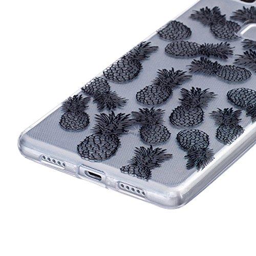 Cuitan Transparent Weiche TPU Schutzhülle Hülle Handyhülle für Apple iPhone 6 / 6S 4.7 Zoll, Schwarz-Musterentwurf Rückseitige Abdeckung Telefonkasten Back Case Cover Shell - Datura-Blume Ananas