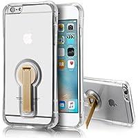 tinxi®Kreative silikon Schutzhülle für Apple iPhone 6/6s 4,7 Zoll Hülle Fallschutz TPU Silikon Rückschale Schutz Hülle Case Tasche transparente Rückschale mit bräunem Ständer um 360 Grad drehen