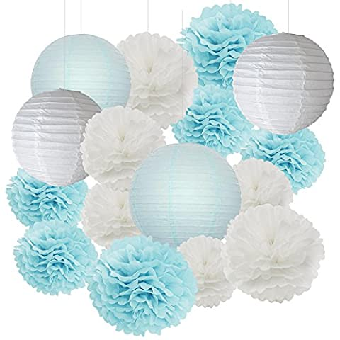 Furuix 18 pcs Lantern Decorations Boy Baby Shower Decorations White and Baby Blue Mixed Tissue Pom Pom Flower and Paper Lantern Party Favors Wedding Birthday Decor Paper