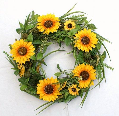Seide Faux Sonnenblumen (Blütenkranz Blumenkranz Sonnenblume Rattan Ø 39)