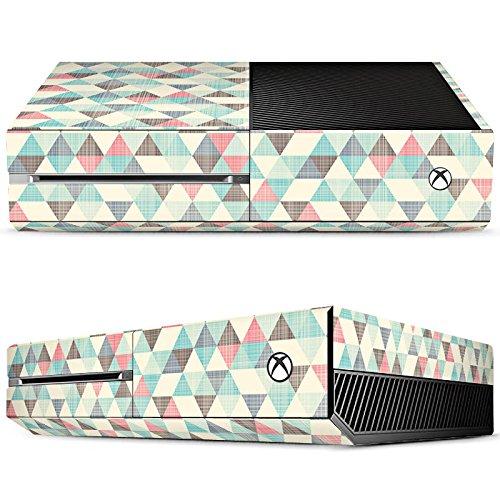 microsoft-xbox-one-case-skin-sticker-aus-vinyl-folie-aufkleber-dreiecke-vintage-muster-pastell