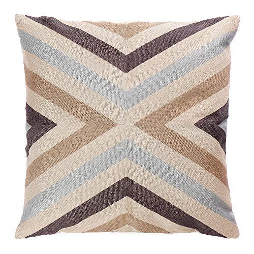 Generic 100% Baumwolle Bestickt Streifen Muster Kissen Fall Dekorativer Überwurf-Couch Kissen deckt 45,7x 45,7cm mit Unsichtbar Reißverschluss für Sofa, Bett, Stuhl, Auto Sitz -