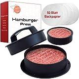 Smiling Hosts 3 in 1 Burgerpresse - Set inkl. 50 Blatt Backpapier Plus Burger Pattie Presse für Mini Burger und gefüllte Hamburger