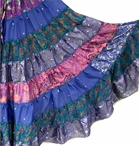 1 - 7 Yard Tribal Zigeuner Maxi Taille Rock Bauchtanz Röcke Silk Blend Banjara Für S M L XL, ONE SIZE 34 - 46 BLAUE PURPUR-SCHATTEN