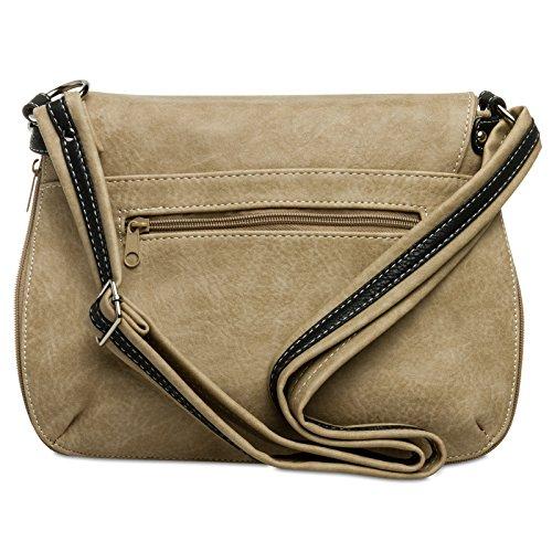 CASPAR Fashion, Borsa a tracolla donna #15105 braun beige schwarz Umhängetasche