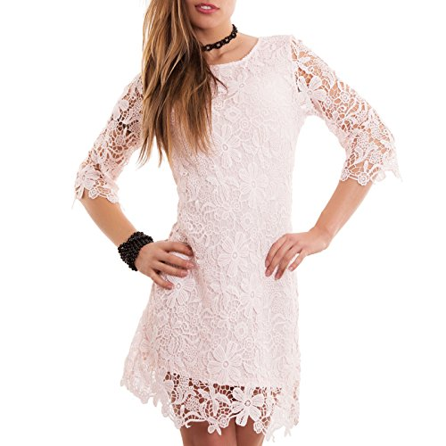 Toocool - Vestito donna abito miniabito PIZZO girocollo maniche 3/4 corto nuovo CC-1192 Rosa