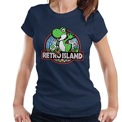 Super Mario Jurassic Retro Park Women's T-Shirt Navy Blue